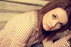 Beautiful girl wearing casual square shirt Stock Photo