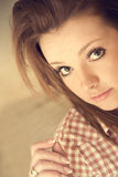 Beautiful girl wearing casual square shirt Royalty Free Stock Photo