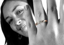 Beautiful girl wearing engagement ring Royalty Free Stock Photo