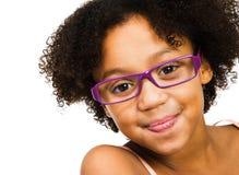 Beautiful girl wearing eyeglasses. Isolated over white Royalty Free Stock Photo
