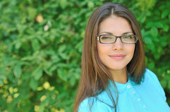 Beautiful girl wearing glasses - outdoor portrait Royalty Free Stock Photo