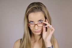 Beautiful girl wearing glasses. Beautiful sexy girl wearing glasses Royalty Free Stock Photo