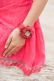 Beautiful girl wearing a handmade bracelet. On the sea Stock Image