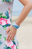 Beautiful girl wearing a handmade bracelet. On the sea Stock Photos