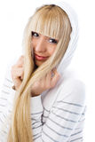 Beautiful girl wearing a jacket with a hood Stock Photos