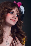 Beautiful girl wearing little hat Royalty Free Stock Photo