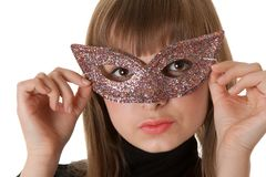 Beautiful girl wearing a mask Stock Photo