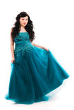 Prom dress. Beautiful girl wearing a prom dress, vertical format royalty free stock image