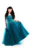 Prom dress. Beautiful girl wearing a prom dress, vertical format stock photo
