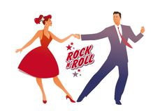 Beautiful girl wearing red retro dress and handsome man dancing rock, rockabilly, swing or lindy hop stock illustration