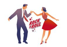 Beautiful girl wearing red retro dress and handsome man dancing rock, rockabilly, swing or lindy hop royalty free illustration
