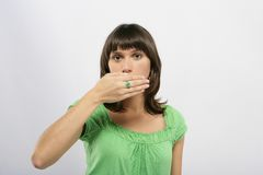 Beautiful girl wearing an ring. With smile Royalty Free Stock Photos