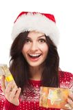 Beautiful girl wearing santa claus clothes Royalty Free Stock Photos