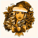 Beautiful girl wearing santa claus clothes on white background. Illustration royalty free illustration