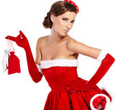 Beautiful  girl wearing santa claus clothes Royalty Free Stock Photography