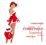 Beautiful  girl wearing santa claus clothes Stock Image