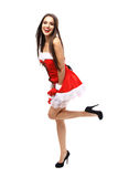 Beautiful girl wearing santa claus clothes Stock Photography