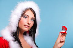 Beautiful girl wearing santa claus gift box Royalty Free Stock Image