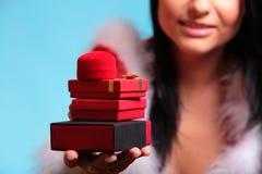 Beautiful girl wearing santa claus gift box Royalty Free Stock Photo