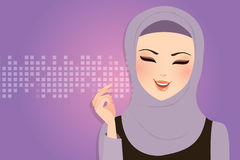 Beautiful girl wearing scarf hijab veil smile Islam. Vector Royalty Free Stock Image