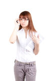 The beautiful girl wearing spectacles with documen. Ts, on a white background Royalty Free Stock Image
