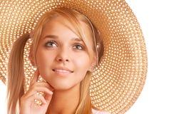 Beautiful girl wearing straw-hat portrait Royalty Free Stock Photos