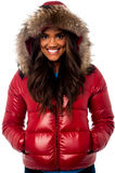 Beautiful girl wearing winter jacket Stock Photos