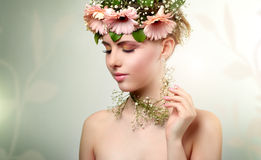 Beautiful girl wearing wreath of flowers Royalty Free Stock Photography