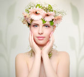 Beautiful girl wearing wreath of flowers Royalty Free Stock Photo