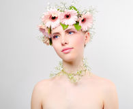 Beautiful girl wearing wreath of flowers Stock Photography