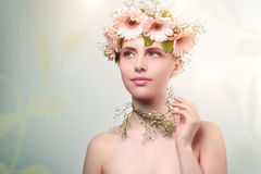 Beautiful girl wearing wreath of flowers Royalty Free Stock Images