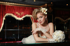 Beautiful girl in a wedding dress Royalty Free Stock Photography