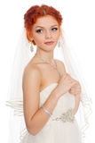 Beautiful girl in a wedding dress Stock Image