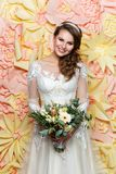 Beautiful girl in wedding gown royalty free stock photography