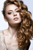 Beautiful girl in wedding image with barrette in her hair Royalty Free Stock Photos