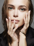 Beautiful girl with wet hair and make-up. Woman face.fashion beauty make up Royalty Free Stock Images