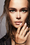 Beautiful girl with wet hair and make-up. Woman face.fashion beauty make up Stock Photography