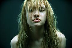 Beautiful girl with wet hairs. Stock Images