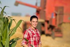 Beautiful girl in wheat field Stock Photos