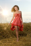 Beautiful girl in wheat field on sunset Royalty Free Stock Image