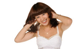 The beautiful girl on a white background Royalty Free Stock Photo