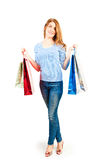 Beautiful girl on white background holding shopping bags Stock Photography