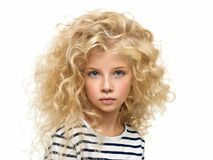 Portrait of the beautiful child isolated on white Stock Photo
