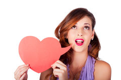 Girl Talking Through Heart Speech Bubble Royalty Free Stock Image