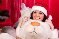 Beautiful girl with white bear Royalty Free Stock Photography
