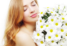 Beautiful girl with white chrysanthemum Royalty Free Stock Image