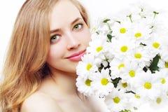 Beautiful girl with white chrysanthemum Stock Photos