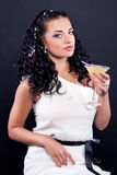 Beautiful girl in a white cocktail dress Royalty Free Stock Photography