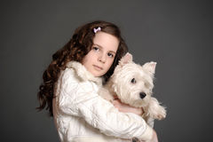 Beautiful girl with a white dog. Beautiful girl with a white fluffy dog Stock Photography