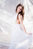 Beautiful girl in white dress. Beautiful girl like an angel in white dress royalty free stock images